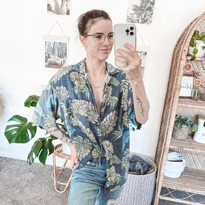 Hawaiian Button Down Monstera Leaf Dad Shirt
